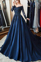 Navy Full Sleeves Appliques Satin Prom Ball Gowns Long Custom Made Fashion Evening Gowns Bridal Wedding Gowns PD370