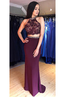 Sexy Beaded Two Pieces Prom Dresses with Appliques Custom Made 2 pieces Long Homecoming Dress PD248