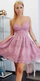 Sweetheart Skin Pink Homecoming Dress with Appliques Custom Made Short A-Line Prom Party Dress HD054