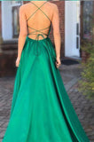 Sexy High Side Slit A-Line Prom Dresses with Straps Custom Made Fashion Backless Evening Dresses PD259