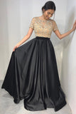Black Satin Beaded 2 Pieces Long Prom Dress with Short Sleeves Custom Made Two Pieces Evening Party Dress Fashion Beadings School Dance Dresses PD424