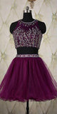 Two Piece O-Neck Homecoming Dress 2 Pieces Grape Beaded Tulle Party Dress HD020