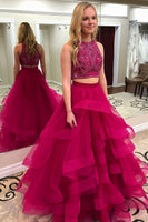 Cute Beaded 2 Pieces Prom Dress 2019 Tulle Beadings Graduation Party Dress Fashion Long School Dance Dress Two Pieces Sweet 16th Dress PD476