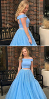 Custom Made 2 Pieces Beaded Blue Prom Dress 2019 Two Pieces Graduation Party Dress Fashion Long School Dance Dress PD474