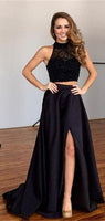 Black Beaded 2 Pieces Side Slit Long Prom Dress Custom Made Two Pieces Party Gowns Fashion Beadings School Dance Dresses PD455