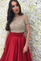 Beaded Red 2 Pieces Long Prom Dress with Short Sleeves Custom Made Two Pieces Evening Party Dress Fashion Satin Beadings School Dance Dresses PD423