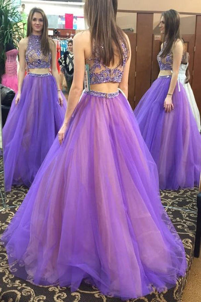 Unique Beaded Two Pieces Tulle A-Line Prom Dress Custom Made 2 Pieces Long Graduation Party Dresses PD330