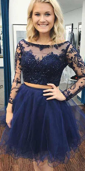 Beaded 2 Pieces Short Homecoming Dress with Long Sleeves Custom Made Cute Short Cocktail Dress Fashion Short Tulle School Dance Dresses Short Women's Fashion Dresses HD157
