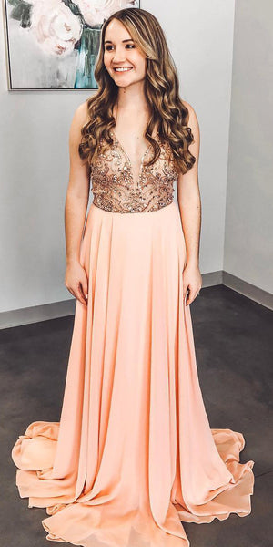 V-Neck Beaded Chiffon Prom Dress 2019 Custom Made Beading Evening Party Dress Fashion Long School Dance Dress PD487