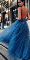 Sparkly V-Neck Beaded Tulle Prom Dress Custom Made Long A-Line Evening Gowns Fashion School Dance Dresses PD393