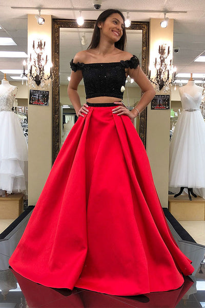 Black Beaded 2 Pieces Long Red Satin Prom Dress with Straps Custom Made Two Pieces Graduation Party Dress Fashion Beadings School Dance Dresses PD425