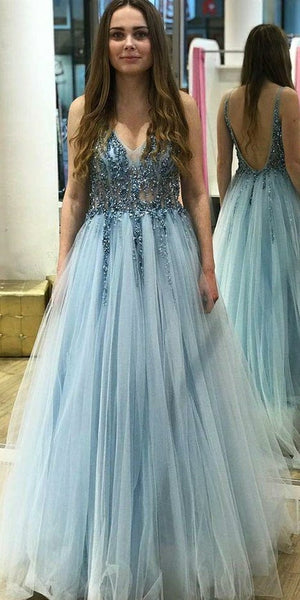 Sparkly Beaded Prom Dress 2019 Custom Made V-Neck Tulle Beadings Evening Party Dress Fashion Long Backless School Dance Dress Pageant Dresses for Girls PD577