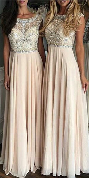 Chiffon Beadings Long Bridesmaid Dress with See Through Bodice Custom Made Fashion Long Beaded Wedding Party Dresses BD096