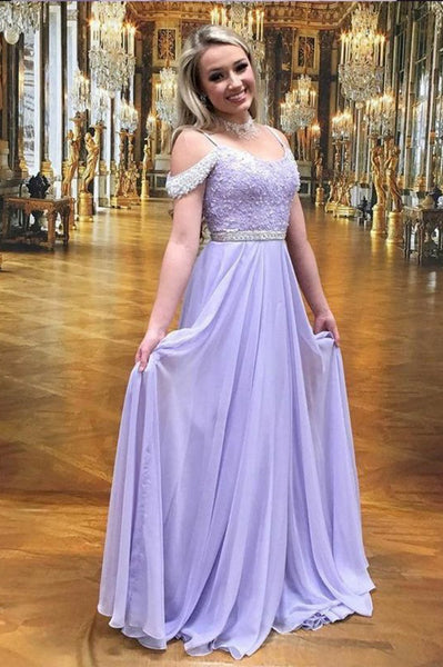 Elegant Beaded Chiffon Lilac Prom Dress Custom Made Fashion Long Beadings Formal Dress PD295