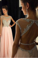 Chiffon Beadings A-Line Long Prom Dress Custom Made Fashion Open Back Evening Gowns PD282