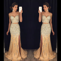 Sparkling Beaded 2 Pieces Long Prom Dress Custom Made Sexy Sweetheart Side Slit Evening Party Dress PD279