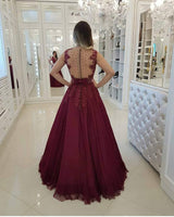 Beaded Long Tulle Appliques Prom Dress Custom Made Long Beadings Evening Gowns Fashion Long School Dance Dress Women's Formal Dresses PD853