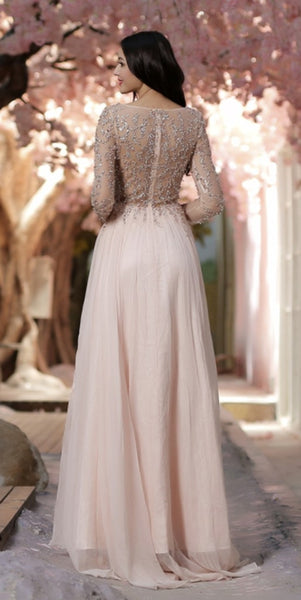 Elegant Beaded Long Sleeves Prom Dress Custom Made Long Beadings Evening Gowns Fashion Long School Dance Dress Women's Pagent Dresses PD918