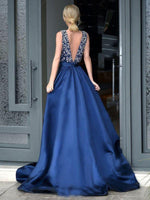 V-Neck Beaded Navy Blue Prom Dress 2019 Custom Made Long A-Line Evening Party Dress Fashion Beadings School Dance Dress PD494