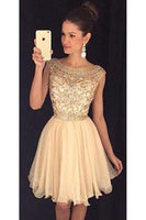 Scoop Neck Beaded Chiffon  Homecoming Dress Short Beading Party Dress HD013