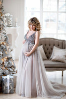 Sparkly Beaded Tulle Maternity Prom Dress 2019 Custom Made Beadings Evening Party Dress Fashion Long Pregnant Dress MP001