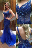 V-Neck Beaded Tule Prom Dress Sexy Open Back Mermaid Evening Dress PD035