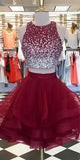Custom Made 2 Pieces Beaded Tulle Homecoming Dress Fashion Short Gratuation Party Dress HD030
