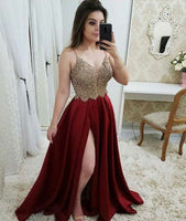 Burgundy Sexy Beaded Side Slit Prom Dress Custom Made Satin Beadings Evening Party Dress Fashion Long V-Neck School Dance Dress PD534