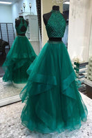 Sparkly Beaded Two Pieces Tulle Prom Dress Custom Made 2 pieces Long Evening Gowns with Beades PD251