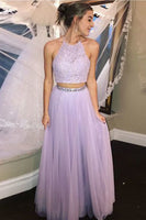 Sexy Halter Beaded 2 Pieces Lilac Tulle Prom Dress Custom Made Fashion Two Pieces Long Graduation Party Dresses Sweet 16th Dress PD388