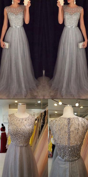 Tulle Beadings Long Prom Dress Custom Made Long Beaded Evening Dress Fashion Long School Dance Dress Women's Formal Dresses PD873