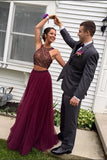 Fashion Long Beaded Two Pieces Prom Dress Custom Made 2 pieces Tulle Party Gowns with Beades PD252