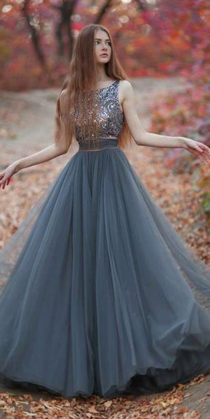 Sexy Beaded V-Back Prom Dress Custom Made Tulle Beadings Evening Party Dress Fashion Long School Dance Dress PD537