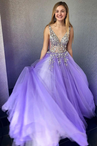 Sparkly V-Neck Beaded Lilac Tulle Prom Dress Custom Made Long Evening Party Gowns Fashion Beadings Sweet 16th Dresses PD438