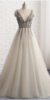 Sparkly Silver Beaded V-Neck Tulle Prom Dress Custom Made Long Evening Gowns Fashion Tulle A-Line Formal Party Dresses PD453