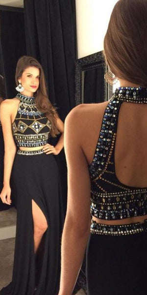 Two Piece Open Back Homecoming Dress Side Split Beaded Formal Dress HD007