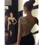 Black Chiffon Beaded Long Prom Dress with One Full Sleeve Custom Made Fashion Beadings Long Evening Gowns PD283