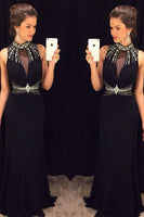 Fashion High Neck Beaded Chiffon Prom Dresses Custom Made Long Black Evening Gowns PD244