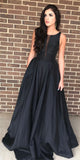 Simple Long Black Prom Dress Custom Made Long Evening Gowns Fashion Long School Dance Dress Women's Pagent Dresses PD919