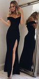 Simple Black Long Side Slit Prom Dress Custom Made Long Off Shoulder Evening Dress Fashion Long School Dance Dress PD805