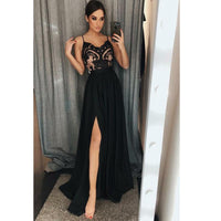 Spaghetti Straps Black Long Prom Dress with Lace Bodice Custom Made Long Evening Dress Fashion Long School Dance Dress PD824