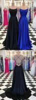 Simple Sexy Black Spaghetti Straps Backless Prom Dress 2020 Custom Made Satin Long Evening Party Dress Fashion Long School Dance Dress Pageant Dress for Girls PD651