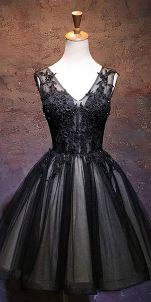 V-Neck Black Beaded Short Homecoming Dress with Appliques Custom Made Cute Cocktail Party Dress Sweet 16th Dresses Fashion School Dance Dresses HD090