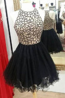 Black Tulle Beadings Short Homecoming Dress Custom Made Cute Short Cocktail Party Dress Fashion Short Beaded School Dance Dresses Sweet 16th Dress HD133