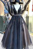 V-Neck Long Black Appliques Prom Dresses Fashion Long Beaded Evening Gowns Custom Made Long School Dance Dress Women's Pagent Dresses PD0004
