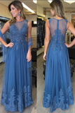 O-Neck Tulle Lace Prom Dress with See Through Bodice Custom Made Fashion Long Formal Evening Dress PD318