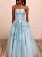 Strapless Long Tulle Appliques Prom Dress Custom Made Long Blue Evening Dress Fashion Long School Dance Dress PD826