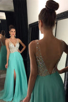 Sexy V-Neck Beaded Long Prom Dress Custom Made Fashion Side Slit Chiffon Evening Gowns PD275