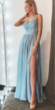 Blue Chiffon Lace Prom Dress with Straps Custom Made Sexy Side Slit Evening Party Dress Fashion Long School Dance Dress Floor Length Pageant Dress for Girls PD627