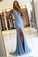 Sexy Simple V-Neck Side Slit Prom Dress Custom Made Long Backless Blue Evening Party Dresses PD329
